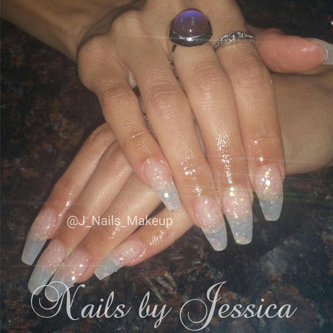 Fullset Of Coffin Encapsulated Acrylic Nails Glitter Mylar J Nails Makeup Nails Nails
