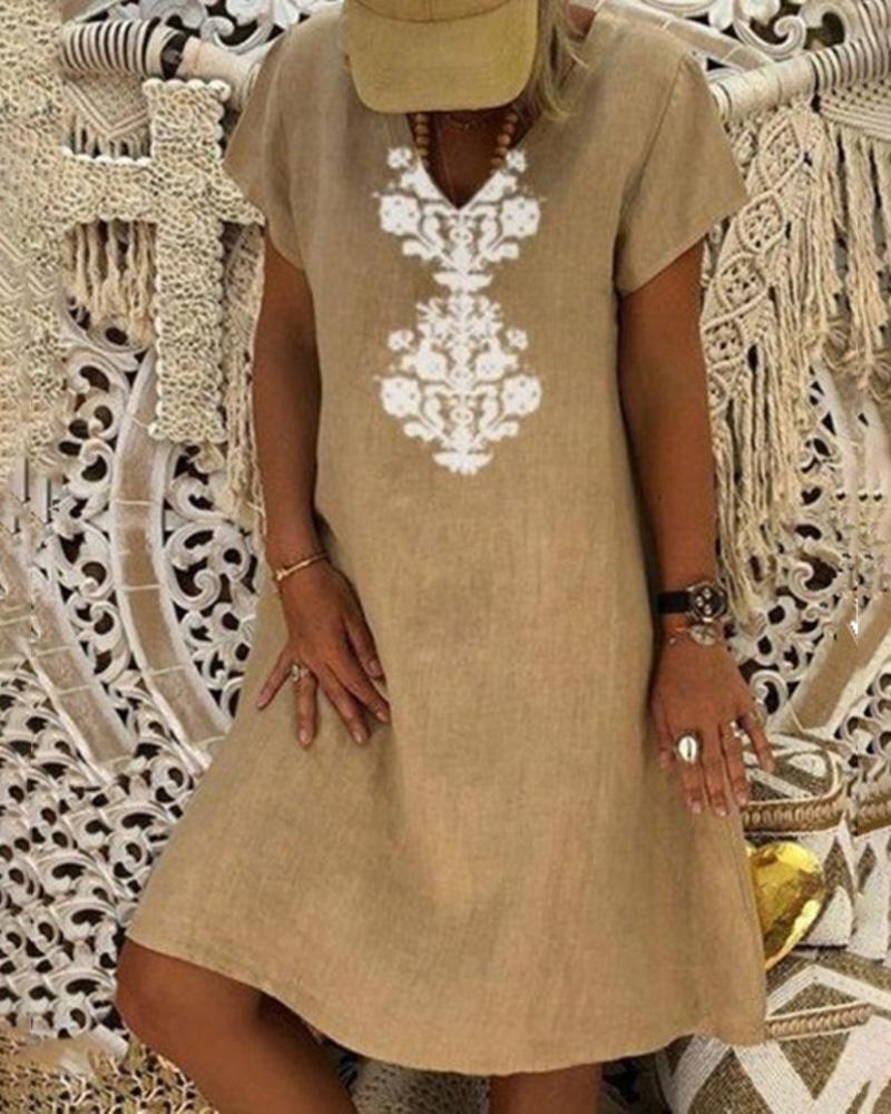 Retro Print Short Sleeve Casual Dress