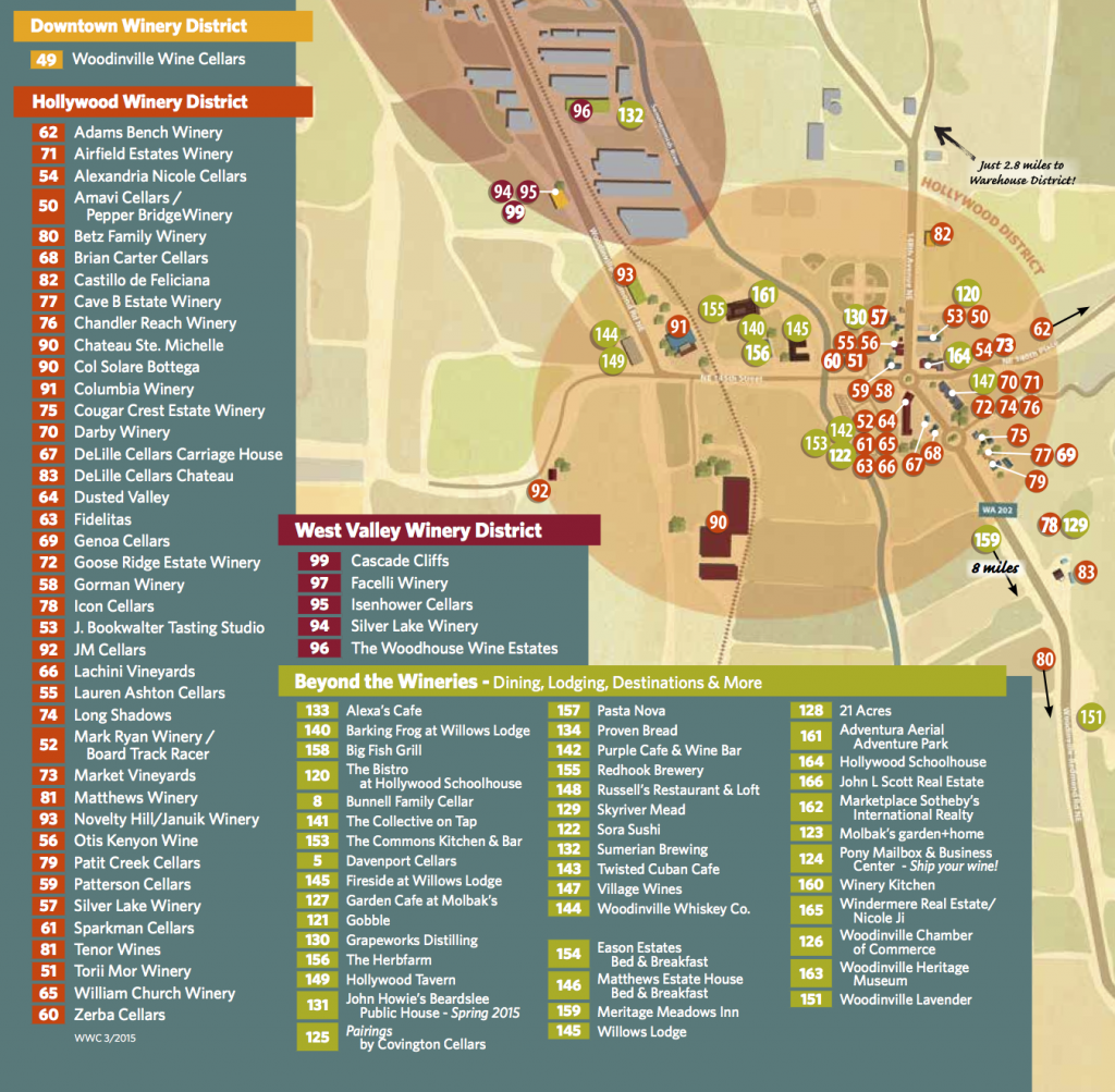 Download and print the Woodinville Wine Country map of wineries