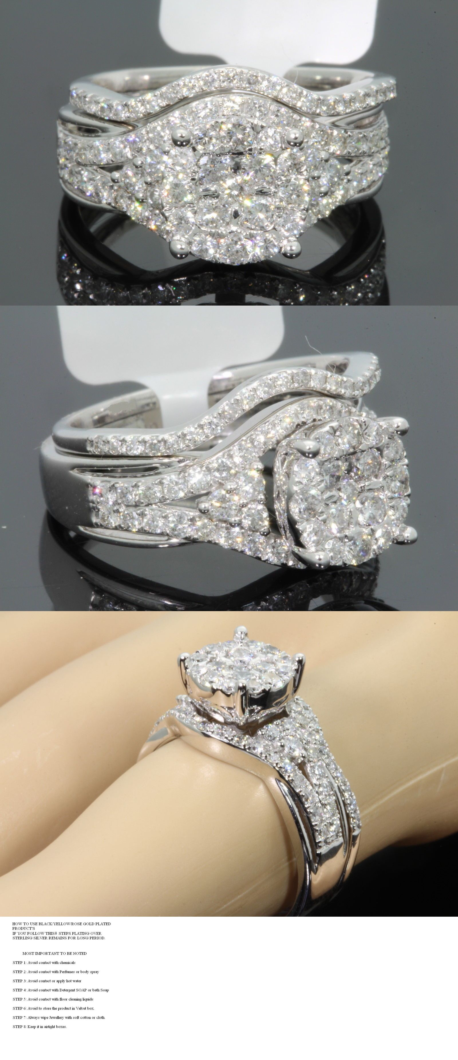 jewellery engagement wedding ring pin cluster bridal cubic womens set silver zirconia and