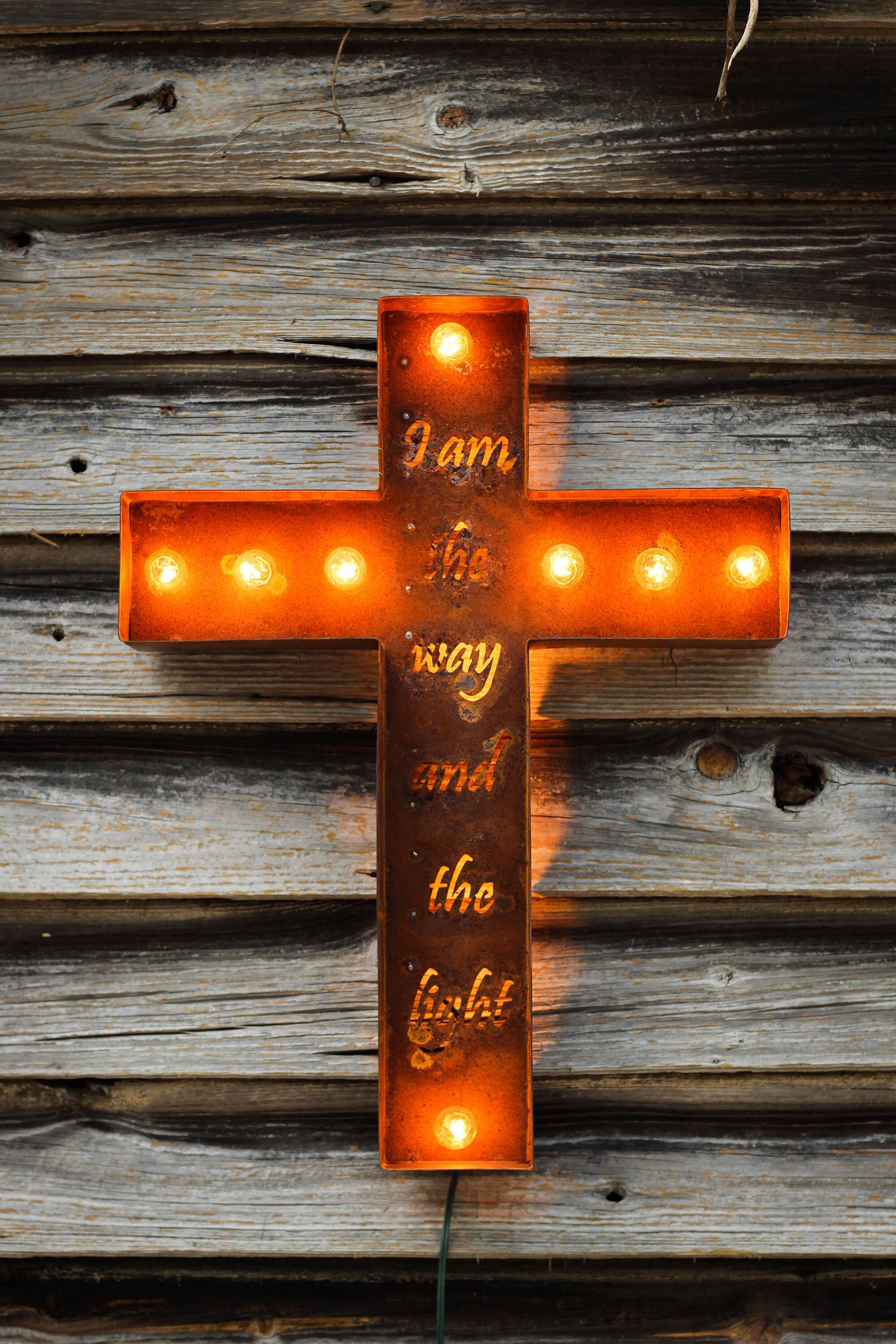 Metal Cross Rustic Marquee Light Sign  American Made! Church Home Decor  Christian Art I