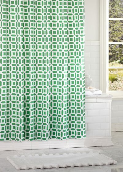 Kelly Green Shower Curtain With Gorgeous Pattern
