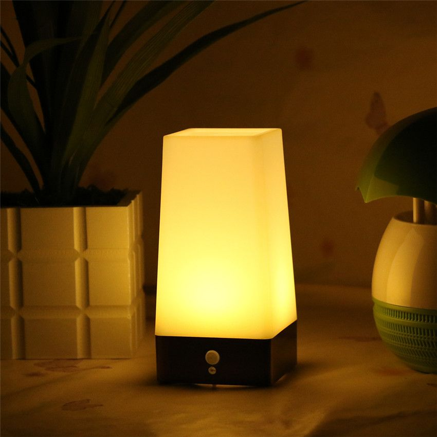 1x Wireless Pir Motion Sensor Table Lamp Super Bright Led Night Lamp Hallway Kitchen Bedroom Battery Powered Warm Night Li Lampu Tidur Lampu Pernikahan Bunga