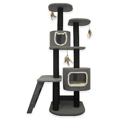 Cat Life 2 Post Vertical Tower Hideway Grey Perch Toy Scratch Climb Pet Supplies