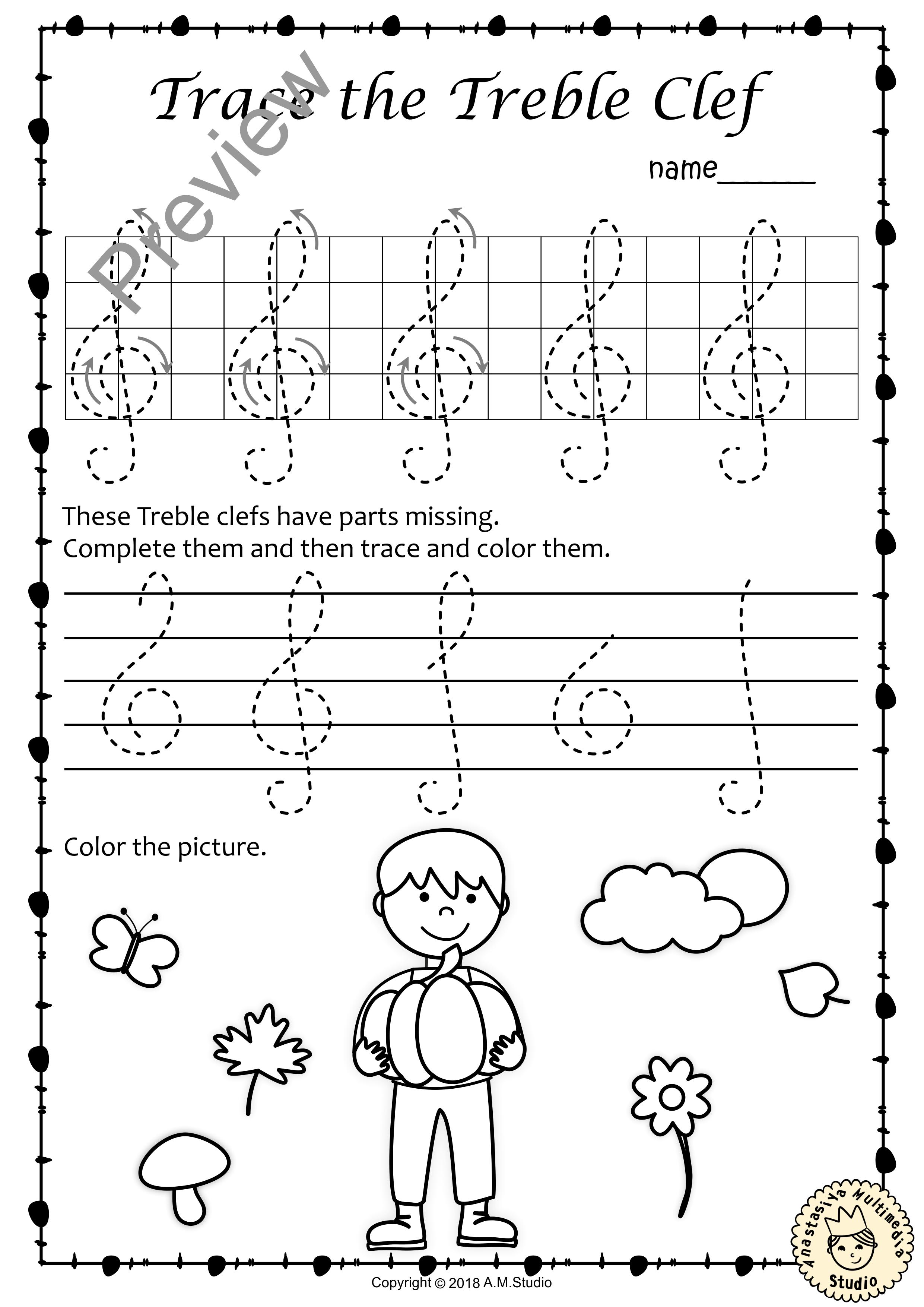 Tracing Music Notes Worksheets For Fall Anastasiya Multimedia Studio Elementary Music Worksheets Music Basics Music Lessons For Kids [ 3508 x 2481 Pixel ]