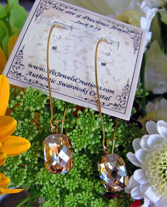 New Swarovski Golden Shadow Cushion Cut by HisJewelsCreations, $38.00