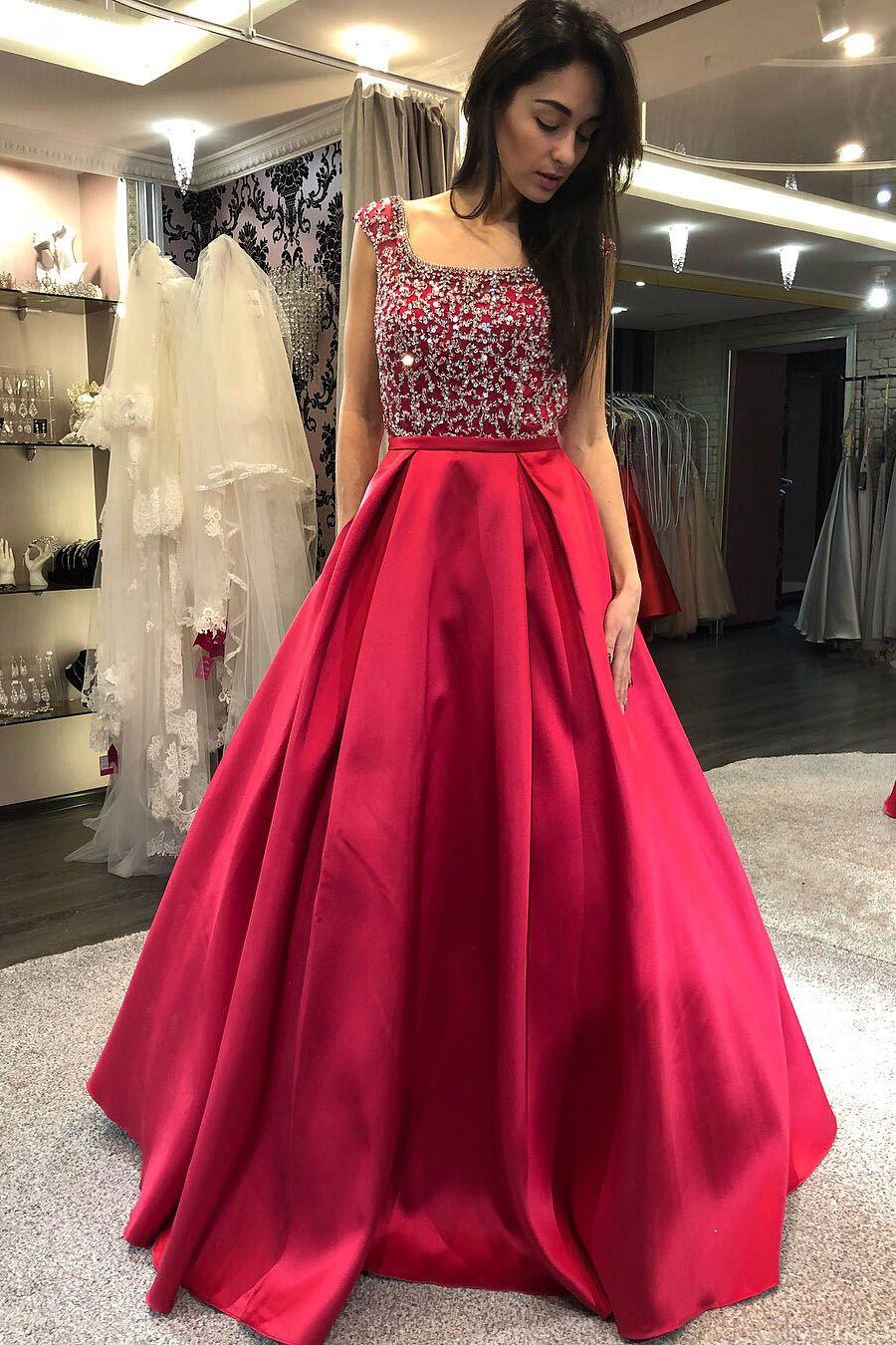 Elegant aline sequins square red long prom dress eevening dresses