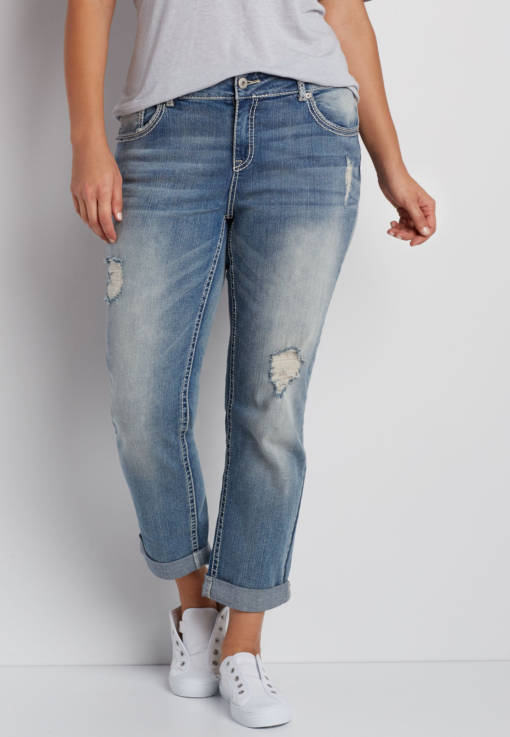 139af772ce0 plus size destructed boyfriend jeans in light wash