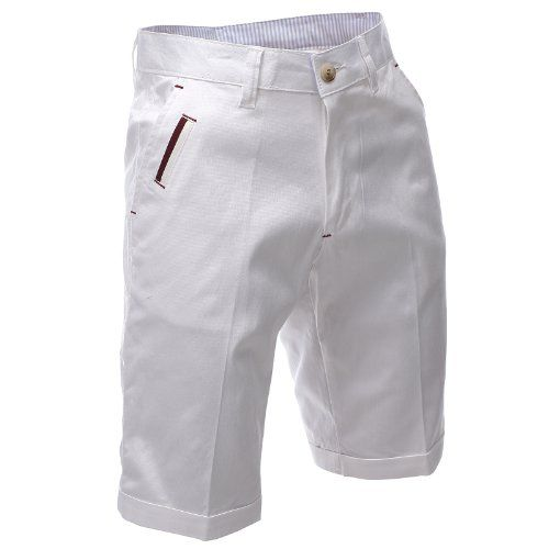 9a24e7efec95 FLATSEVEN Herren Slim Fit Bermuda Shorts Chino Hosen Premium Baumwolle  (CH198S) White, FLATSEVEN