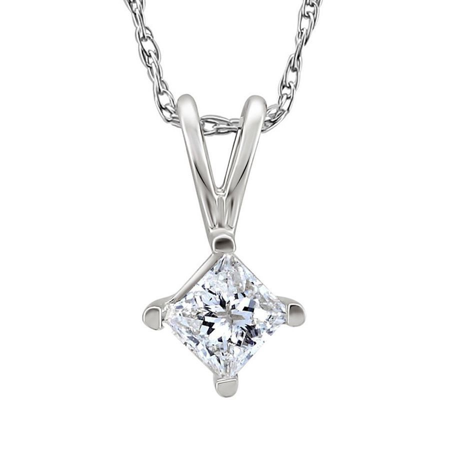 This beautiful pendant showcases a single princesscut white diamond