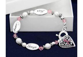 Hope Strength Courage Pink Ribbon Bracelet - (B-05-1)