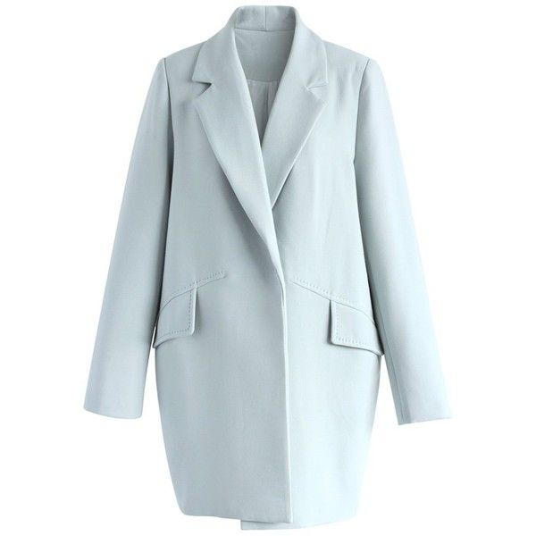 Chicwish A Chic Start Blazer in Baby Blue ($68) ❤ liked on Polyvore featuring outerwear, jackets, blazers, blue, snap button jacket, baby blue jacket, baby blue blazer, blue blazer jacket and button blazer
