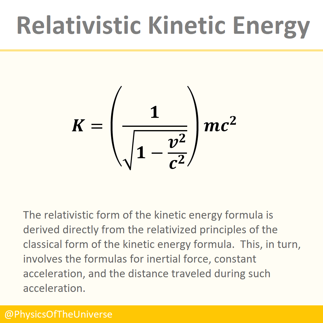 Relativistic Kinetic Energy Equation Kinetic Energy Energy Physics