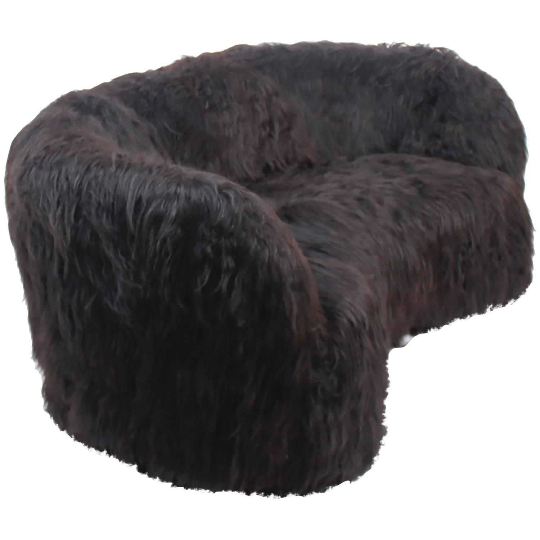 Three-Seat Sofa attributed to Otto Schulz for Boet, Black Icelandic Sheepskin