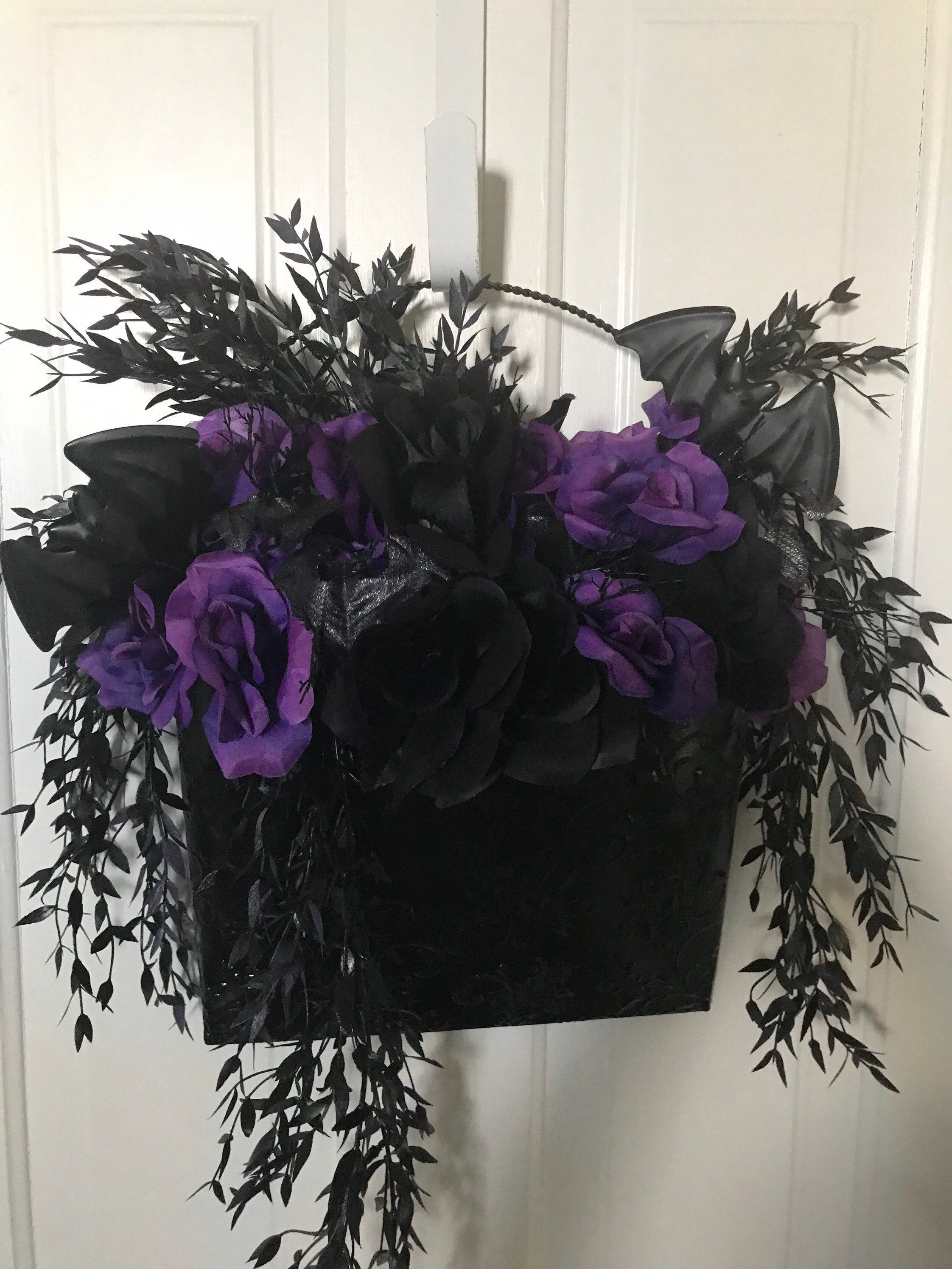Photo of Creepy Gothic floral, large wall pocket, gone batty decor, gothic home decor wall pocket black and purple, roses & bats