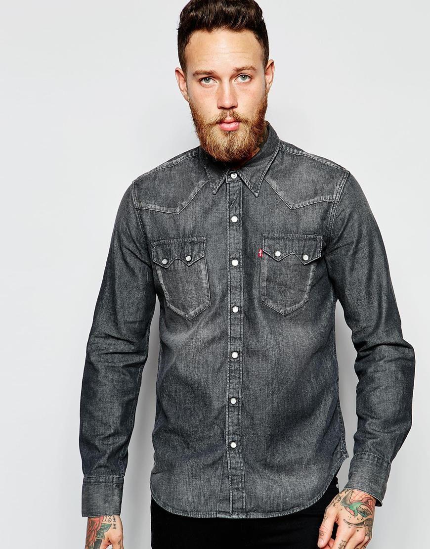 5153403949 Image 1 of Levi s Denim Shirt Sawtooth Western Slim Fit Laundered Grey