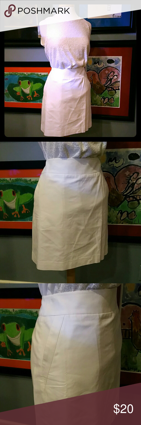 LOFT A-line, off white, fully lined skirt NWT, Beautiful for summer, cream / off white, fully lined, slightly gross grain textured, go with almost any top. LOFT Skirts A-Line or Full