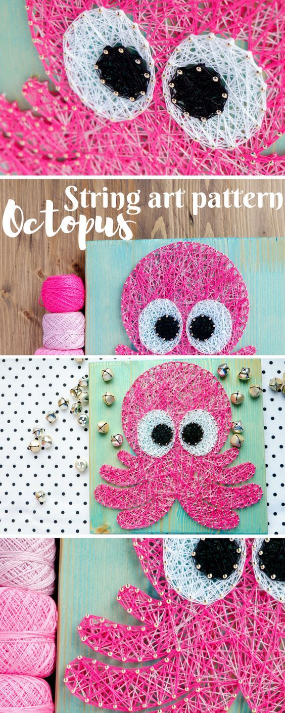 Modern string art pattern for baby octopus great craft project for