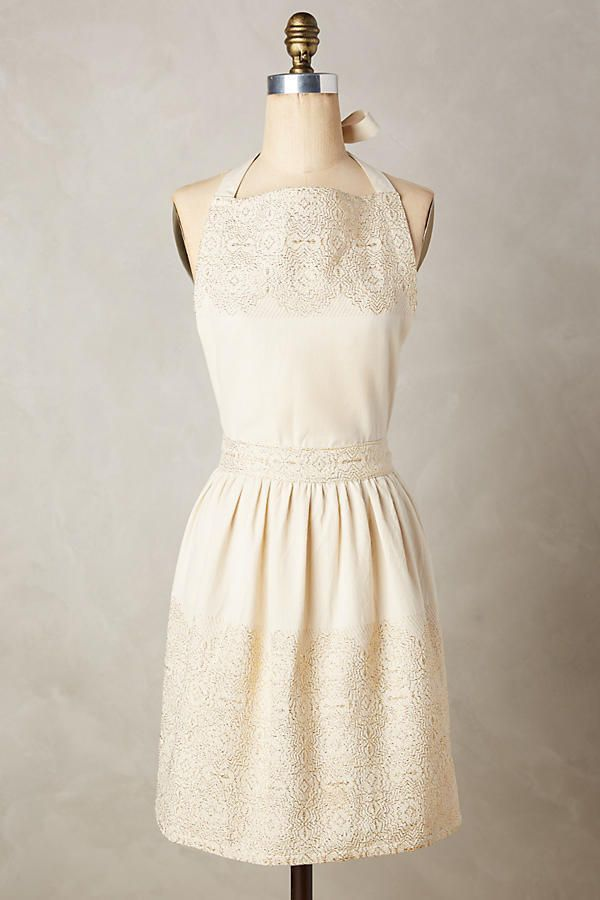 New Anthropologie Sold Out in Stores $28 Adelia Apron in Ivory/Gold Motif  | eBay
