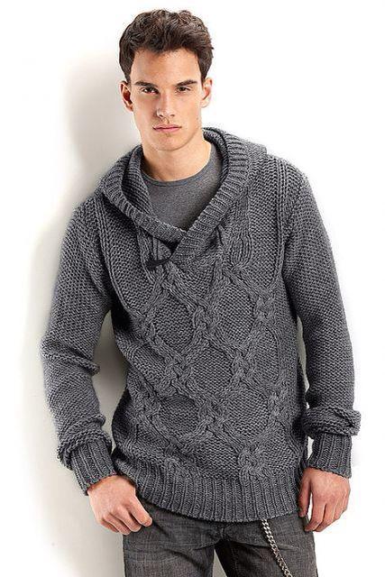 Вязание для мужчин | Свитер с капюшоном, Мужские свитеры ...