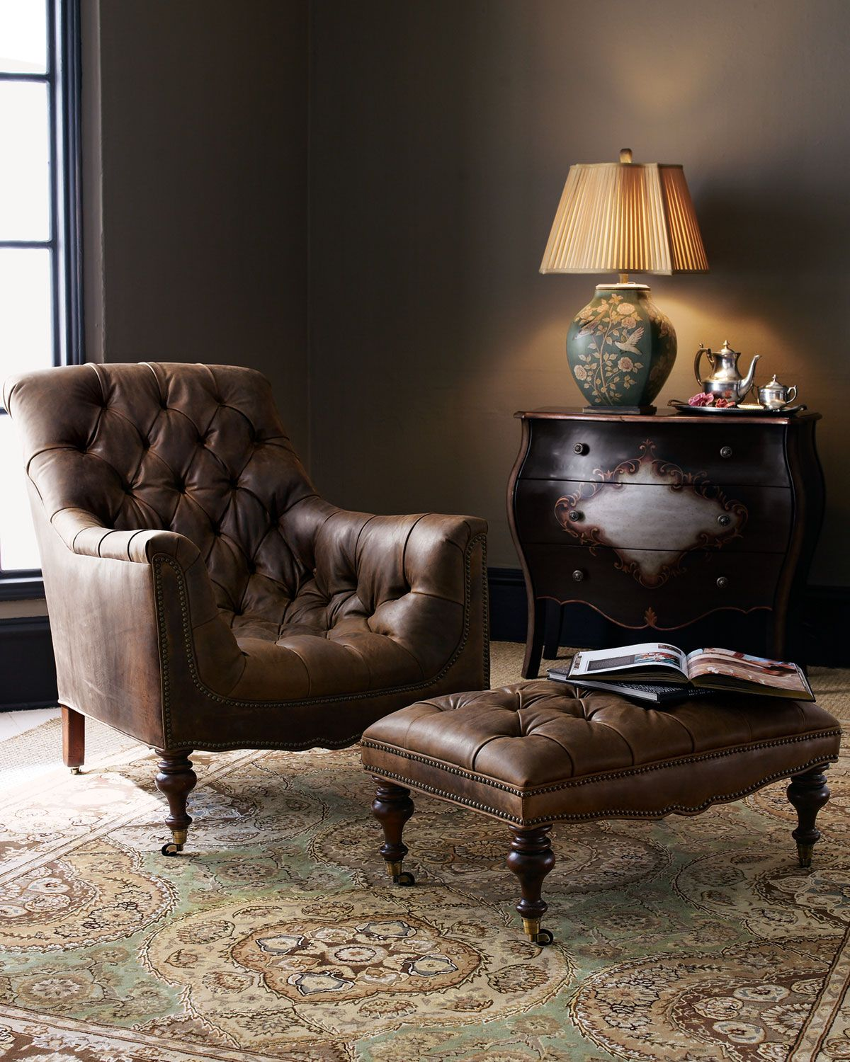Furniture Living Room Leather Chairs Tufted