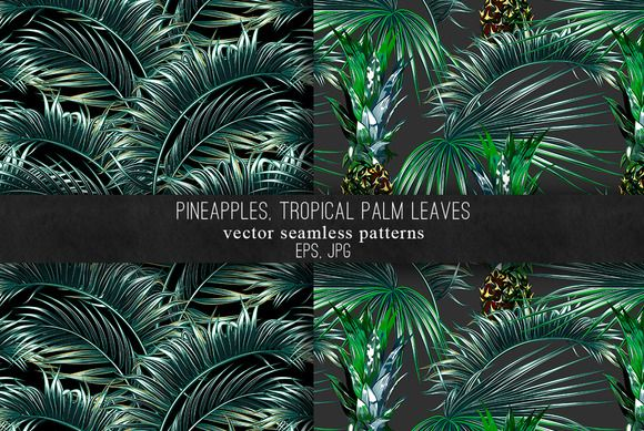 Pineapples, palm leaves patterns @creativework247