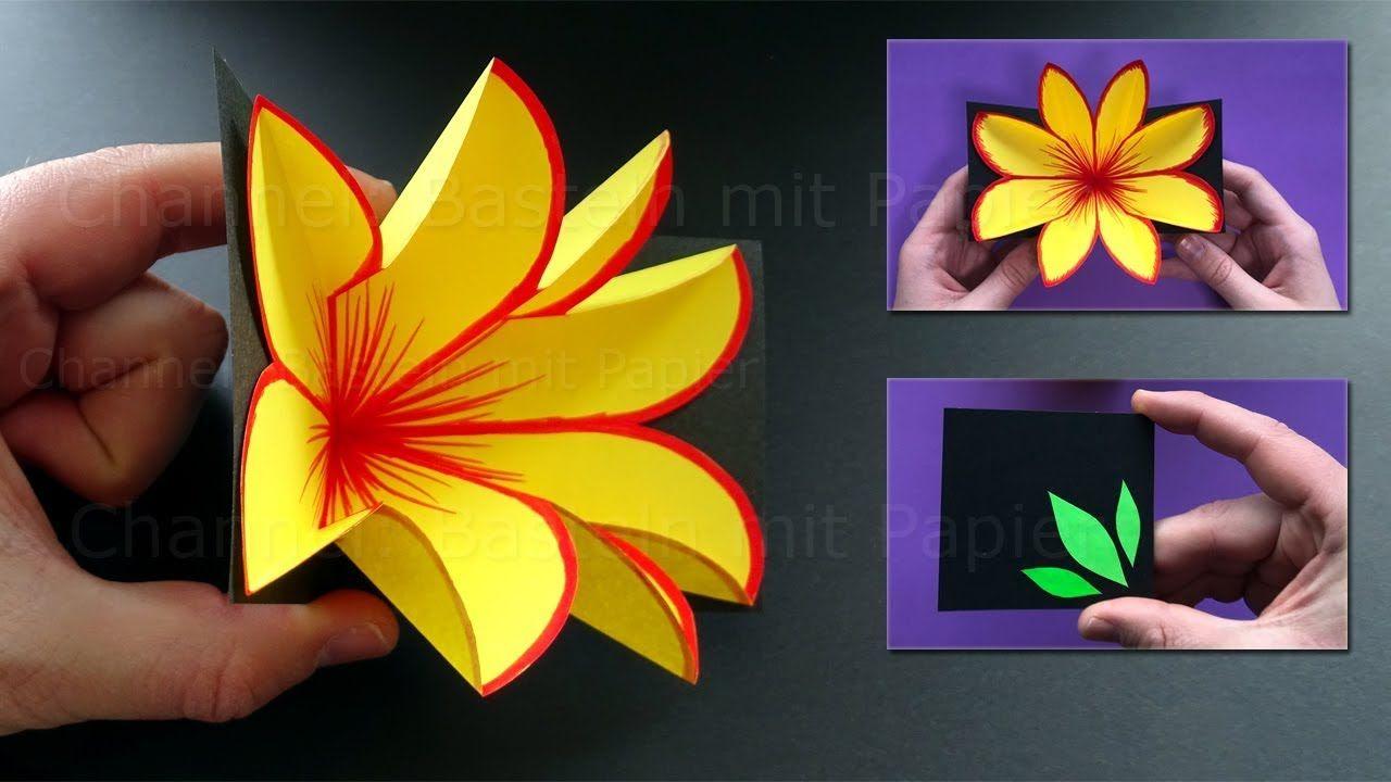 Basteln Mit Papier Pop Up Karte Mit Blume Selber Machen