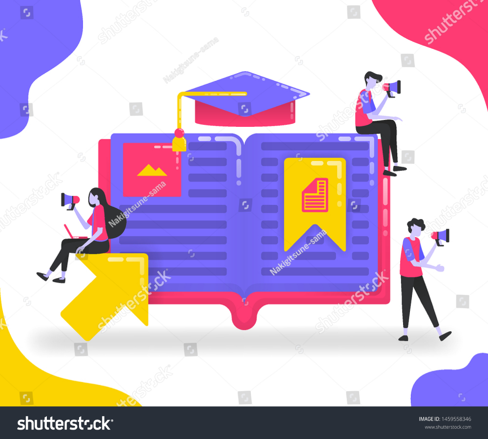 Book illustrations for education Students who study between books or dictionaries Bookmark on important pages in the book Graduation hat flat vector concept for Landing p...