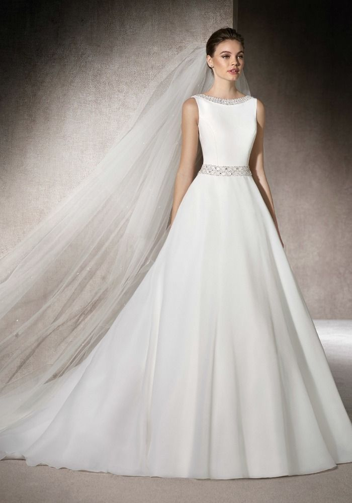 St Patrick Boat Neck Neckline A Line Wedding Dress In Crepe Features