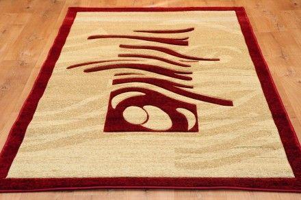 Dywan środkowe Fale Czerwień Dywany Ręcznie Wycinane W