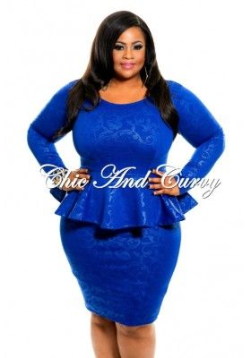New Plus Size BodyCon Peplum Dress with Long Sleeves in ...