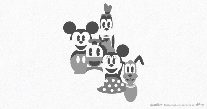 1928  Mickey Mouse gang T-shirt design for scoring on Threadless.