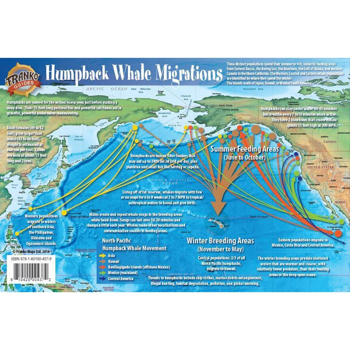 Franko Maps Pacific Humpback Whale Migration Guide 6 X 9 Inch