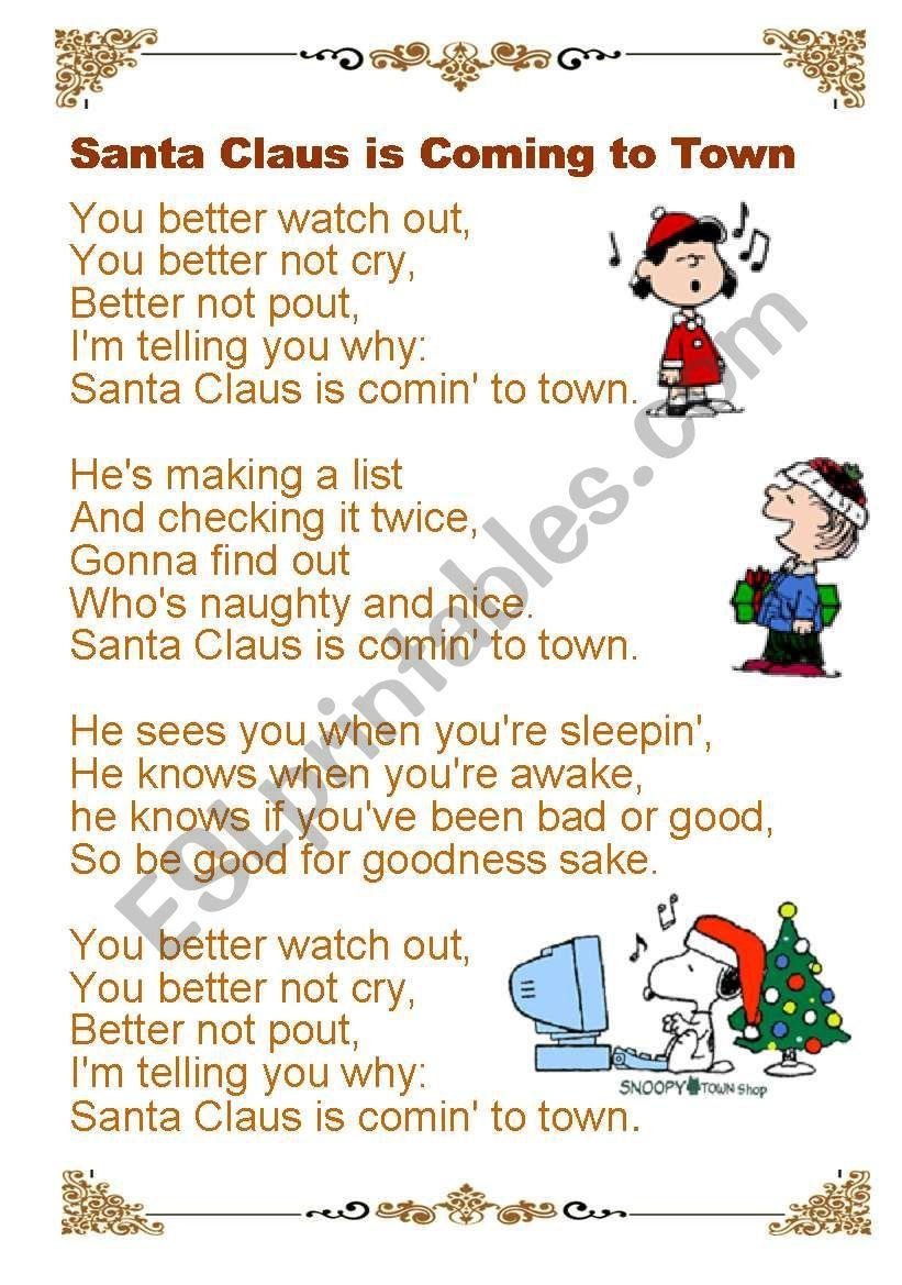 Lyrics Santa Claus Is Coming To Town Grammar Worksheets Worksheets