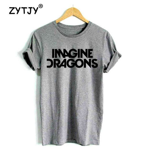 4c3ab14f425 New Women Tshirt IMAGINE DRAGONS Letters Print Cotton Casual Funny Shirt  For Girl Top Tee Hipster Tumblr Drop Ship ZT203-27