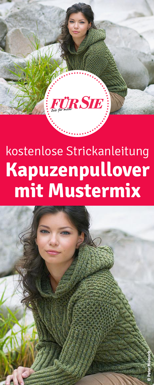 Strickanleitung: Kapuzenpulli im Mustermix   Pinterest   Mustermix ...