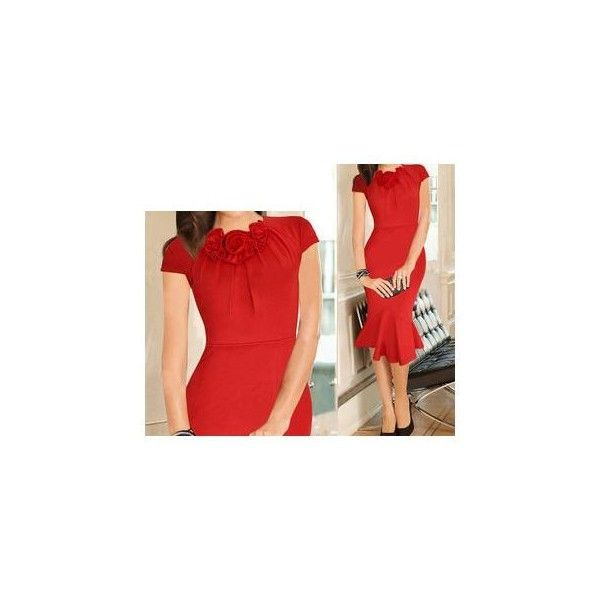 Corsage Cap-Sleeve Ruffle Hem Dress (565 CZK) ❤ liked on Polyvore featuring dresses, women, cap sleeve short dress, red dress, cap sleeve dress, red cap sleeve dress and flounce hem dress