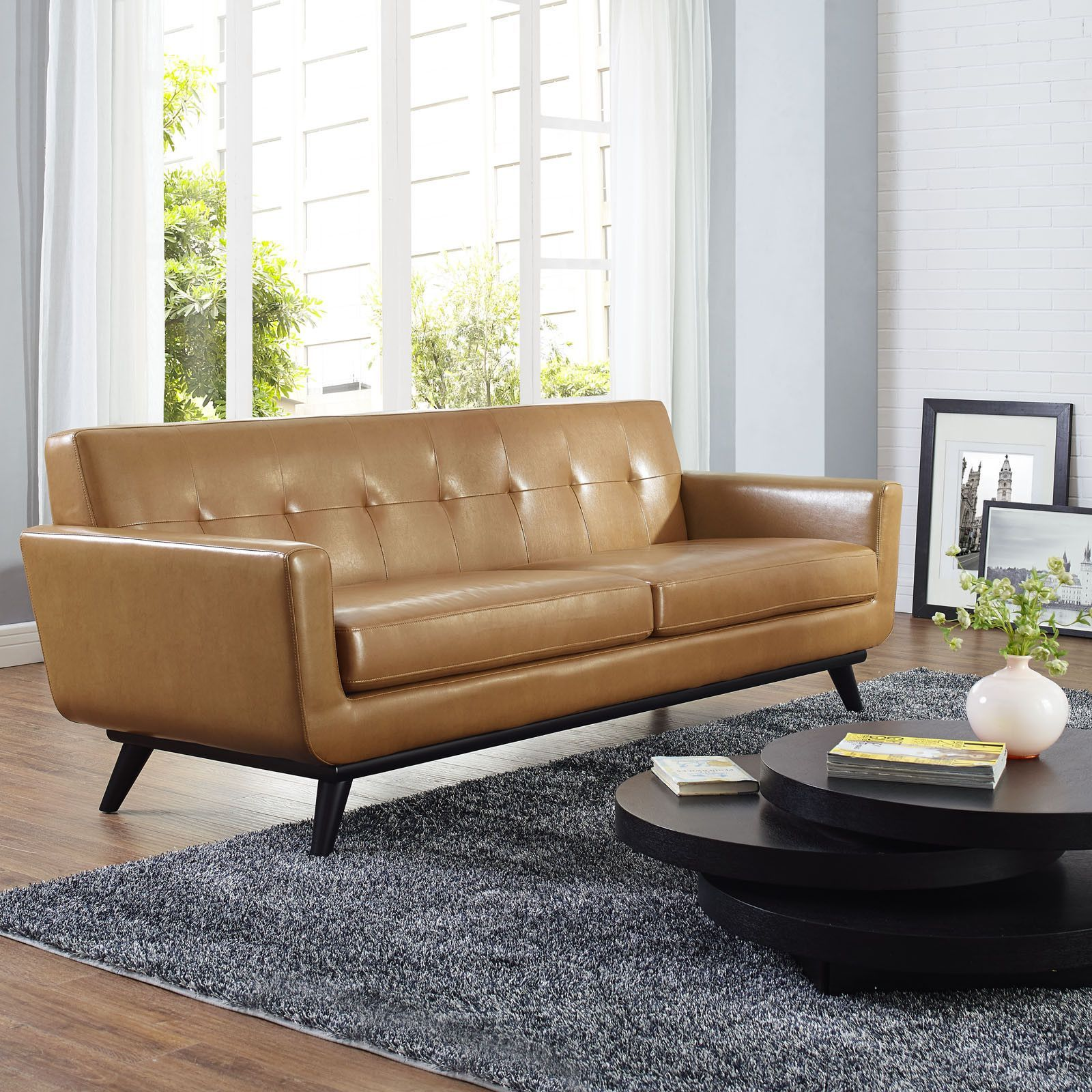 Modway Engage Bonded Leather Sofa 沙发 sofa Pinterest