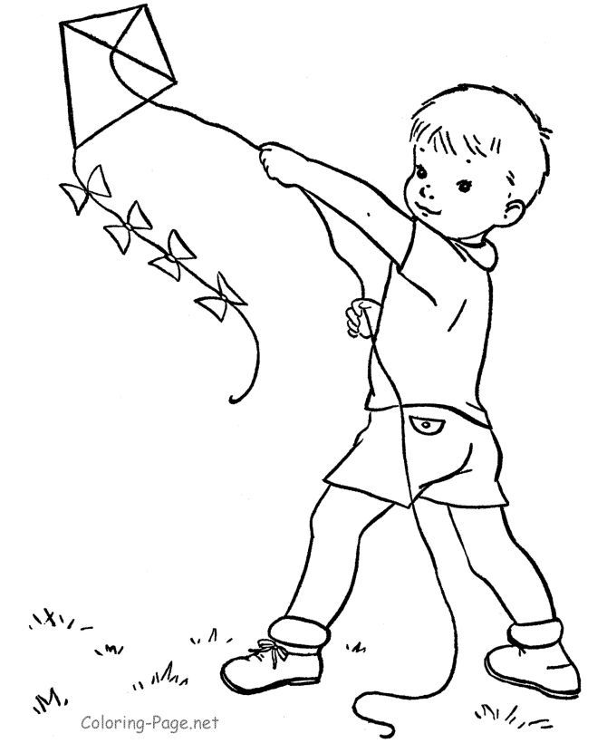 coloring pages of child flying kites ...