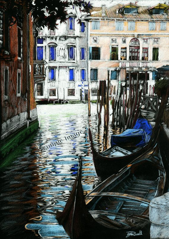 /'Venice/' A4 A3 or A2 Art print of Italy Italian watercolour painting RussellArt