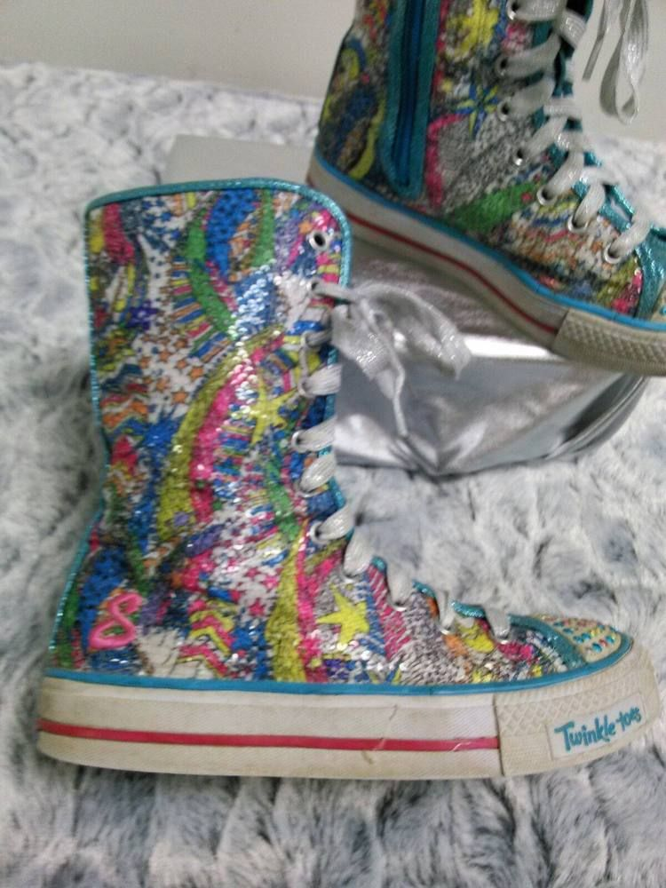 Sketchers Twinkle Toes Light Up High Top Sneakers Boots Size 2