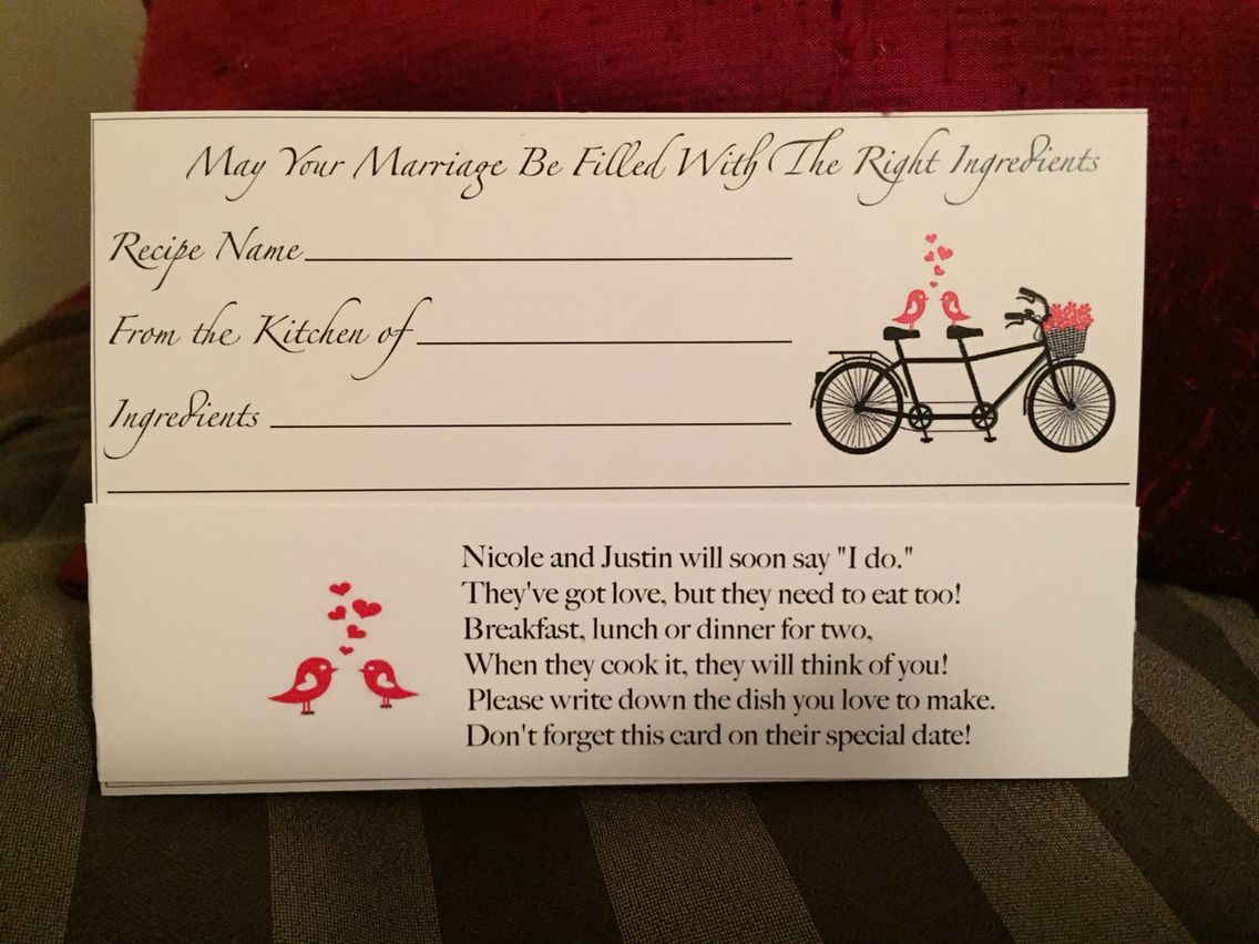 Recipe card for bridal shower! Cute poem!   Bridal shower ...