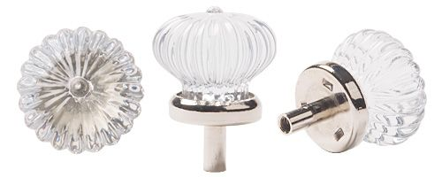 Lee Valley Tools - 28mm Glass Rosette Knob with Nickel-Plated Base
