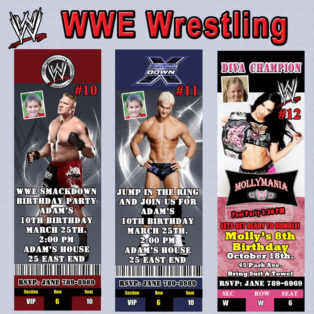 Wwe Wrestling Birthday Invitation Thank You Cards Or Bookmark 10 Ea Personalize Wrestling Birthday Wwe Party Birthday Invitations