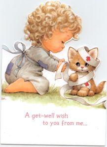 Little girl bandaging cat get well from Marilyn 2012