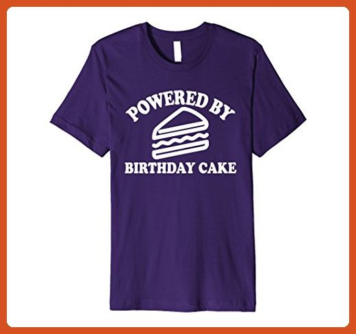 Mens Powered by Birthday Cake - Funny Diet Shirts, Funny Workout  3XL Purple - Workout shirts (*Partner-Link)