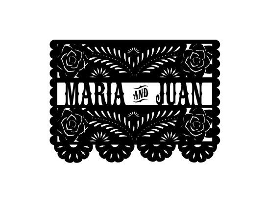 Papel Picado Custom Wedding Names Rubber Stamp