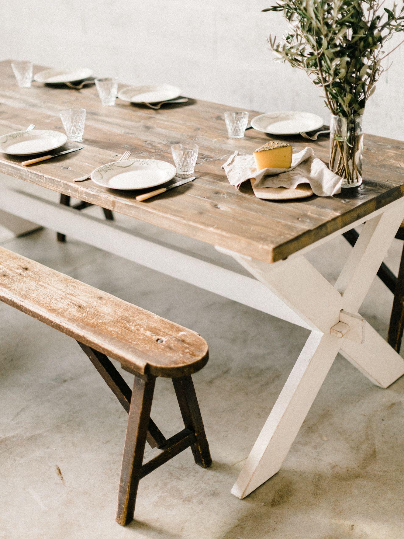 Table En Bois Table Provencale Table Plateau Bois Brut Table Pieds