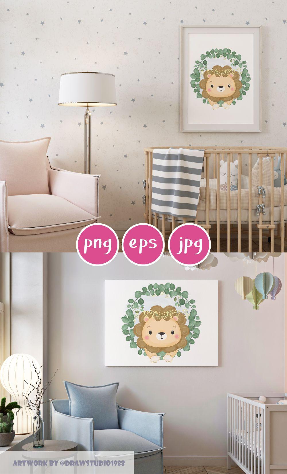 Digital File Nursery Wall Art Nursery Prints Lion Baby Boy Gift Baby Girl Gift Baby Shower Gift Watercolor Clipart Cute Clipart In 2020 Kid Room Decor Nursery Room Decor Nursery Wall Art
