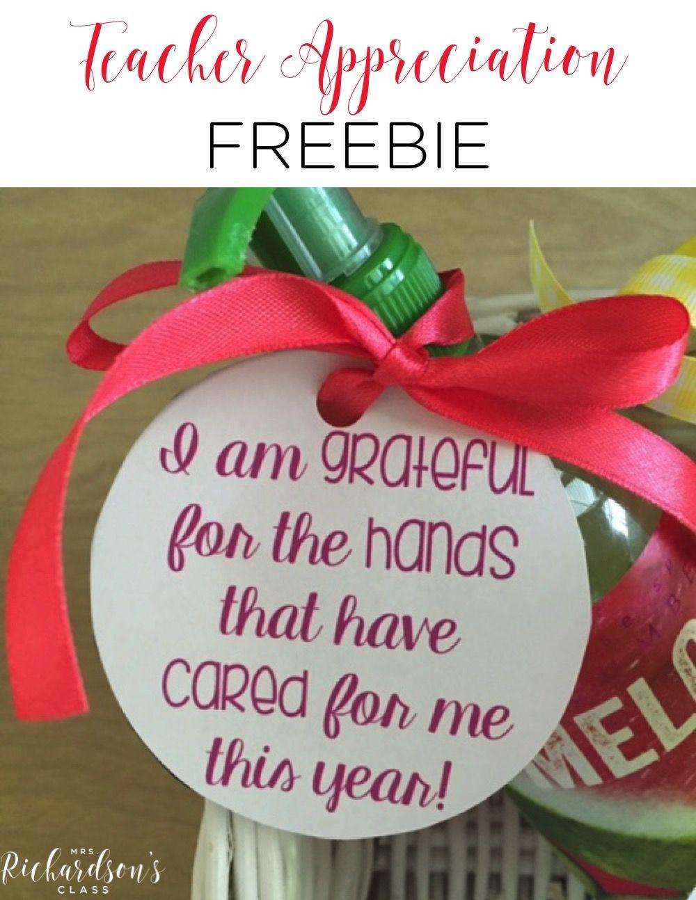 Teacher Appreciation Gift FREEBIE - Mrs. Richardson's Class #thanksgivinggiftsforteachers